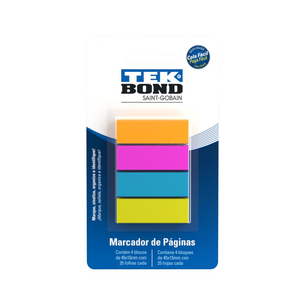 Marcador de Páginas Colorido 4 Blocos 45x15mm